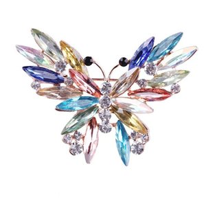 Big Crystal Butterfly Top Quality Silver Tone Brooch Exquisite Big Diamante Jewelry Brooch Large Crystal Women Pin
