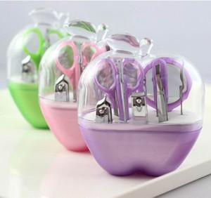 9pcs set professional Nail Cuticle manicure tool kit manicure grooming set kit in plastic apple case Pink Lt purple Green wedding favors