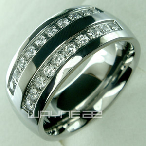 Ses bande en acier inoxydable mens anneau solide mariage de taille de noyau de engagment 8 9 10 11 12 13 14 15