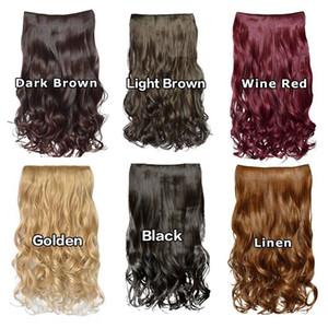 Ladies Long Wave Fibra resistente al calore Clip sintetica sulle estensioni dei capelli Donne 5 Clip Accessori per capelli ondulati Nero Marrone scuro rosso oro