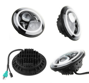 40W CREE 7 inch Round LED Headlight + Amber White Switchback LED Halo Rings For Jeep Wrangler JK TJ LJ 1997 - 2015