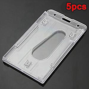 2015 nouveau 5pcs clair vertical porte-badge en plastique dur double carte d'identité transparent 10x6cm ordre $ 18no track