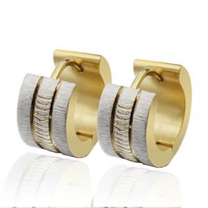 n041 ouro de prata dos presentes de aço inoxidável Sparkling dos brincos da aro para o Natal. Aniversário. Presentes de Jewlery do partido