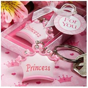 الكثير 20 قطع طفلة الأميرة التاج الامبراطوري مفتاح سلسلة مفتاح حلقة المفاتيح + هدية مربع الشريط استحمام الطفل هدية الزفاف الإحسان
