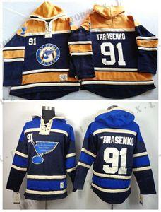2016, Hoodies de Saint-Louis Blues n ° 91 Vladimir Tarasenko hommes vieux temps Hockey sur glace Hoodies chandails molletonnés cousus et cousus