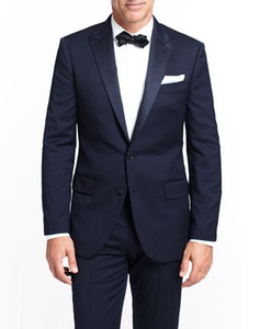 Navy Blue Mens Wedding Suits 2015 Two Buttons Groom Tuxedos with Satin Peaked Lapel Custom Made Formal Prom Suits (Jacket+Pants+Bow Tie)