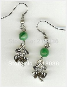 Wholesale Fashion 50 Pair Antiques Silver Bail Irish Shamrock Bead Drop Earrings 925 For Woman DIY Findings Jewelry Gifts Bijoux AM2827