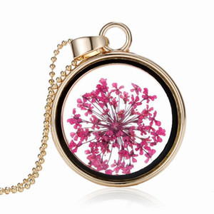 New fashion Pendant necklaces creative plant specimen round dried flower crystal pendant necklace can not be opened floating locket