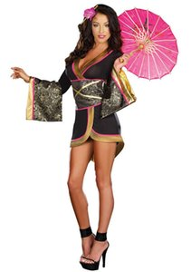 Wholesale-Glam Geisha Costume Adult Asian Persuasion Costume 3S1465 Free Shipping Hot Sale sexy geisha costume Sexy halloween costumes