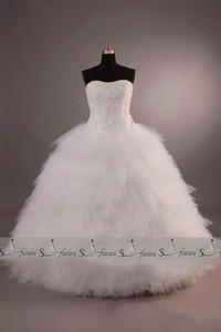 Real Image Vintage Strapless Gorgeous Ball Gown Wedding Dresses Bridal Gown Plus Size 2019 New Arrival