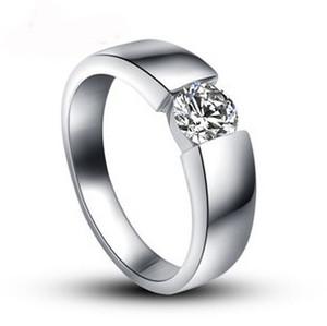 2015 nuovi arrivi 925 sterling silver shiny cubic zirconia uomo anelli di nozze maschili gioielli da uomo