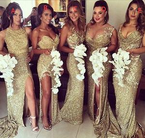 Ouro Lantejoulas Vestidos de Dama de Honra com Long Train Sexy Side Bainha Dividida Festa Vestidos de Noite 2016 Barato Nupcial Dama de Honra Vestido