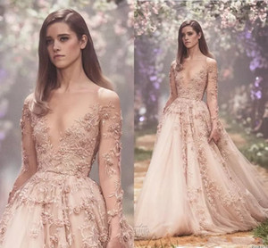 Blush 3D florais de manga longa vestidos de noiva 2020 Paolo Sebastian Lace Applique Princesa Puffy saia Country Garden vestidos de casamento