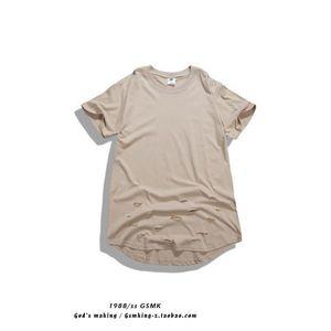 Toptan Heybig Yüksek Moda Erkekler T-Shirt Ripped Kısa Kollu Pamuk Hiphop Kaykay T Shirt Delik Yaz Tarzı Tees Bboy Siyah Beyaz