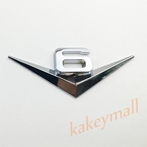 Evrensel Kamyon Parçaları 3D Gümüş Metal Araba Oto Aksesuarları Trim V6 V 6 Logo Amblem Rozet Decal Sticker