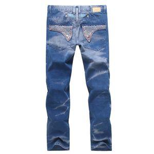 Nouvelle marque Robin Jeans pour hommes Denim Jeans avec des ailes drapeau américain droite Pantalon Slim Gym Joggers Mens Robins Jeans Plus Size 30-42