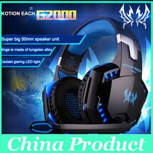 Profesyonel Gaming Headset Kulaklık KOTION HER G2000 Aşırı Kulak Kafa Bandı Mic Ile Stereo Iyi Bas PC Için LED Işık Oyun 010007