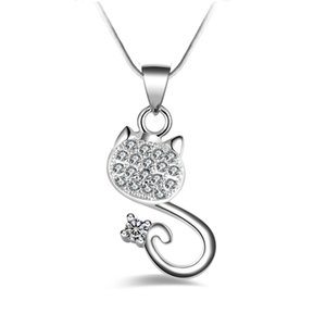 Free shipping fashion high quality 925 silver Crystal cat White diamond jewelry 925 silver necklace Valentine's Day holiday gifts Hot 1697