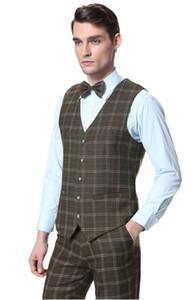 Nouveau costume formel gilet hommes laine vert gilets à carreaux 2 pièces Slim Fit mariage robe de mariée vestes vestes quatre boutons (pantalon + gilet)