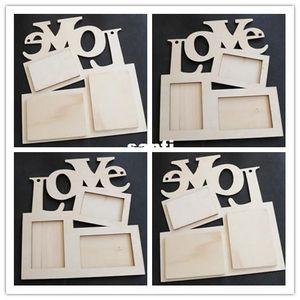 Новые Приходят Hollow Love Деревянная Рамка Для Фото Белая База DIY Фоторамка Art Decor