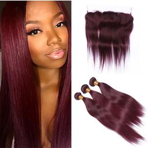 8А Дешевые перуанские бордовые пучки волос с полным кружевом фронтальный бордовый 99J прямые девственные плетения человеческих волос с кружевом фронтальной закрытием