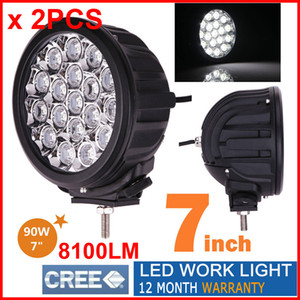 """2PCS 7"""" 90W CREE 18LED*5W Driving Work Light Round Offroad SUV ATV 4WD 4x4 Spot   Flood Beam 8100lm 9-32V IP67 Heavy Duty Llamp Replace HID"""