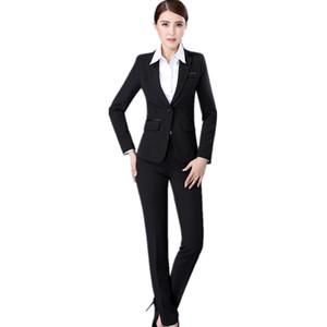 MS iki parçalı takım elbise resmi günler iş çalışma kadınlar toka nötr bir takım elbise takım elbise ceket yaka + pantolon