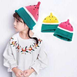 Bebé niño de punto Crochet sombrero de sandía Niño niña niños invierno cálido gorro de punto regalo de Navidad 1Y- 10Y