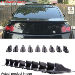 Mayitr 9pcs EVO-Style PP Rear Roof Shark Fins Spoiler Wing Kit Vortex Generator Universal For Auto SUV Jeep Black