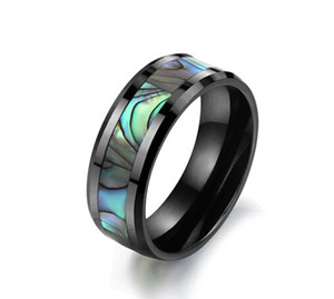 Venda por atacado - Tungsten Carbide Mens Anel Wedding Band Cor Abalone Shell Inlay tamanho 6/7/8/9/10 /