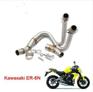 Moto de la motocicleta de acero inoxidable de la cabeza de escape tubo medio para Kawasaki ER-6N ER-6F ER6F ER6N Ninja 650R 2012-2015