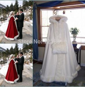 2020 Real Imagen romántica con capucha nupcial Cabo blanco de marfil de la boda larga Capas de piel falsa para el invierno boda Envolturas de novia novia más el tamaño de Capa