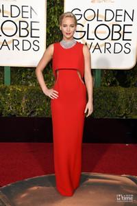 2016 Golden Globe Dress Best Dress Rosso Jennifer Lawrence Straight Long Gowns al 73 ° Annual Golden Globe Awards 2016 Sexy abito strass