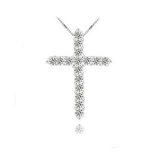 Pendentif croix en argent 925, argent sterling 925 avec cristal de luxe d'Autriche, colliers à pendentif plaqués platine à 3 couches