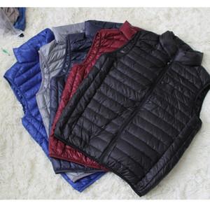 Güz-Erkekler standı yaka aşağı ceket yelek spor açık kış packable taşınabilir ördek aşağı ceket hiçbir kol termal yelek ultra hafif