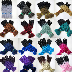 Kanekalon trenzado sintético pelo 24inch100g Ombre dos tonos color Xpression trenzas Jumbo Twist extensiones de cabello sintético 23 colores