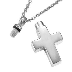 Di alta qualità apribile croce in acciaio inox memoriale cremazione ceneri urna collana pendente ciondolo gioielli donne uomini urna collana