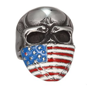 Бесплатная доставка! Американский Флаг Неверный Череп Кольцо Из Нержавеющей Стали Ювелирные Изделия Классический Старинные Мотор Байкер Мужчины Кольцо Оптовая