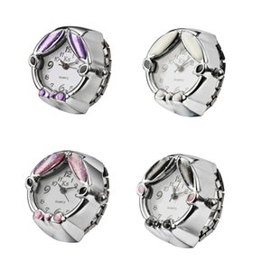 Mode Stretch kreative Uhr Metall Fingerring Uhr 925 Silber überzogene Uhren Brötchen Mode Frauen Quarz Ring Uhr