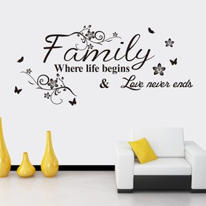 Famille de fleurs noires où la vie commence amour ne se termine jamais mur citation autocollant autocollant anglais disant fleur rotin art mural salon décoration murale