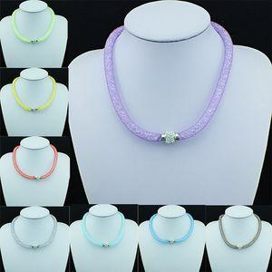 Comercio al por mayor Mezcla de Color Collar Lleno de Malla de Cristal Infinito Blanco Rhinestone Cierre Magnético Gargantilla Collar Para Las Mujeres joyería