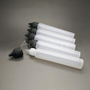 유니콘 빈 병 30 ml PE 뚜껑 스포이드 펜 스타일 긴 검은 색 흰색 뚜껑이있는 유니콘 E- 액체 도트 병 리필 DHL