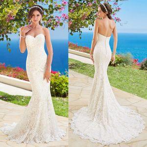 Kitty Chen Sereia Vestidos de Casamento Querida Sem Mangas Backless Praia de Renda Cheia de Vestidos De Noiva Vestido de Casamento Trem Da Varredura