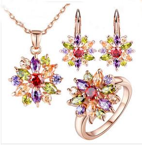 New 18 K Rose Banhado A Ouro Engamement Jewlery Conjuntos para As Mulheres com Alta Qualidade Multicolor 3A Zircon Wedding Jewelry acessórios de Moda