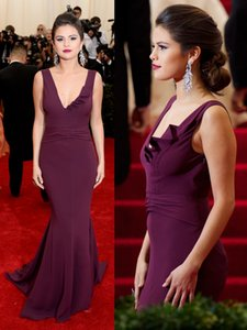 Selena Gomez Women Formal Party Gown 2016 robe de soiree longue Red Mermaid Celebrity Evening Dress caftano Increspato Increspature vestido de festa