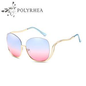 High Quality Sunglasses Women Brand Designer Round Rimless Sun Glasses Vintage Anti UV Shades Round Bend Frame Sunglasses With Box