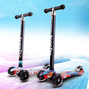 2019 New Graffiti Kick Scooters Child Scooters Flash Swing Four-wheel Baby Car Fold Up Raise Car Security Thickening Widened Non-slip