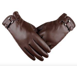 Сенсорный экран Man Gloves PU Кожаные перчатки Осень И Зима Моделирование PU Plus Утолщенная Мода Зимнее вождение