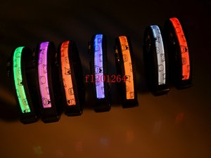100 unids / lote Envío Gratis LED Light-up Correa de Perro Intermitente LED de Nylon Collar de Perro de Mascota de Seguridad Nocturna Eléctrica LED Bear Style Collar
