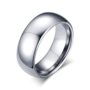 8mm Tungsten Steel Silver Plain Wedding Band Simple Promise Rings Incisione gratuita